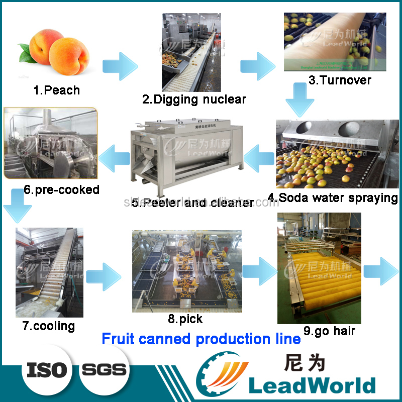 Canned Peach Prodcution Line Peeling/Slicing/Washing Machine