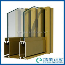 Aluminum extrusion profiles with champagne colour for aluminium window in Zhejiang China