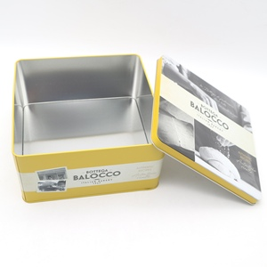 custom design cake gift box Square Packaging Metal Tin Box With / without Clear PVC Window Lid