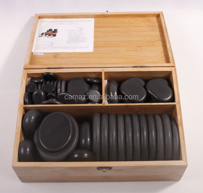 Hot sale 45pcs massage stone set for Spa, Wooden Bamboo Packing case