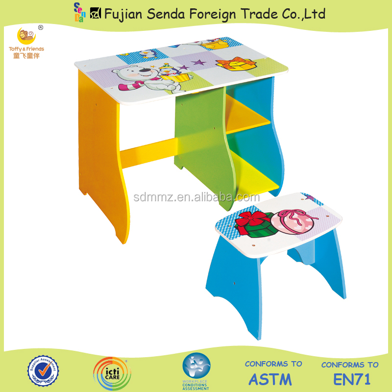 Wooden Kids Storage Desk and Stool Set Sea Bear