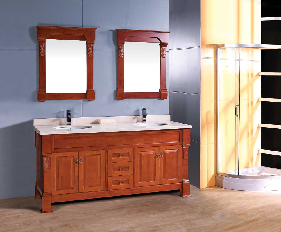 Luxury Classic Italian Style Double Sink Bathroom Cabinet Vanity Furniture