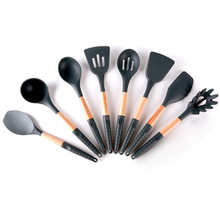 Most Popular 8 Piece Cooking Tools Wooden Silicone Kitchen Utensil Set