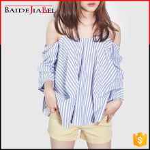 New Fashion latest printed designs off shoulder ladies western casual blouse in stripes for fat woman