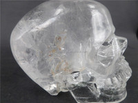 Glass Purity!!! 100% natural rock clear crystal skull ormament with excellent handcarving
