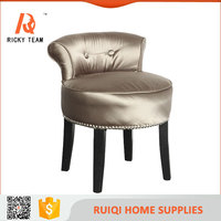 Modern style natural wooden and fabric ottoman/small size chair/small wood children chair