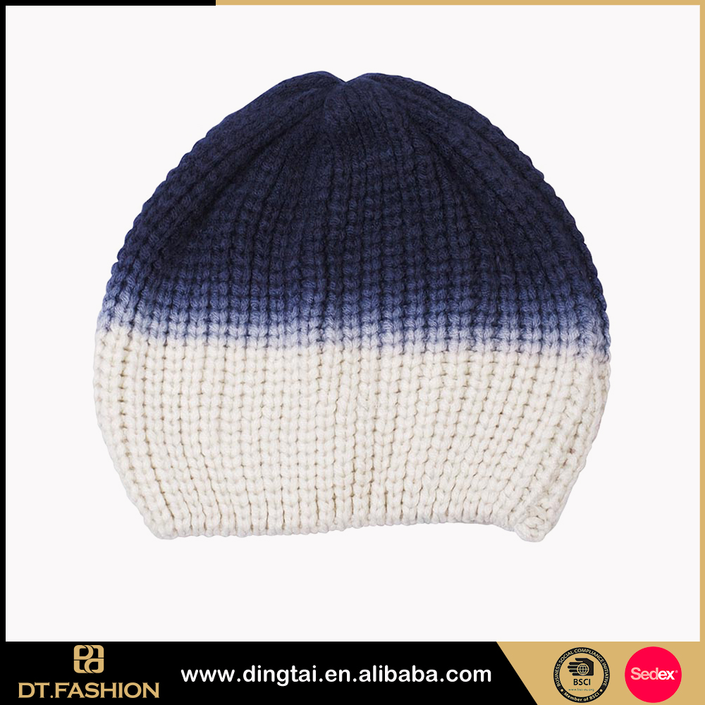 Fashion ladies polar fleece winter acrylic knitted beanie hat with tassel