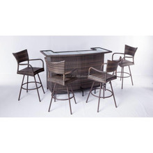 4 seater night party curved pub furniture sets high stool chairs and rattan outdoor bar counter