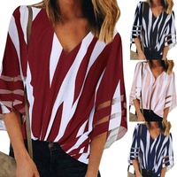 Women Chiffon Stripe Printed Blouses V Collar Short Sleeve Shirts Flare Sleeve Loose Tops Coldker