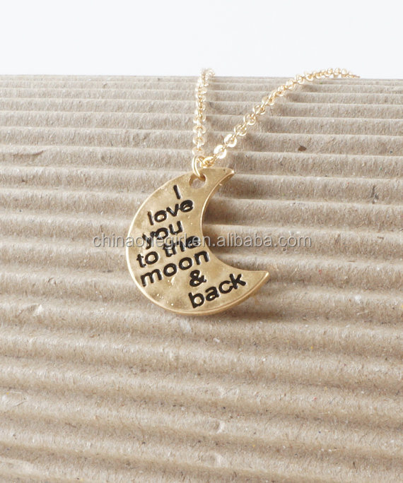 I Love You To The Moon & Back Crescent Half Moon Necklace