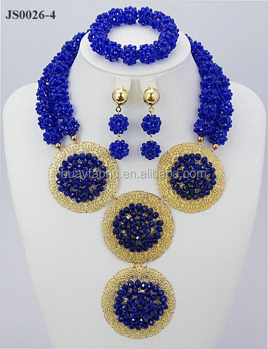 2015 Exclusive Royal Blue Nigerian Beads African Jewelry Set Chunky Statement Necklace Set JS0026-4