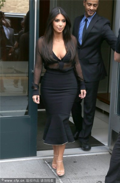 2015 New 2 Two Piece Bodycon winter Dress Sey Deep V Mesh Black Bandage Kim Kardashian Celebrity Long Sleeve Mid-calf Dresses