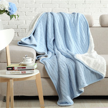 Classical Super Soft Touch 2 Layers Plush Sherpa fleece Cotton Knit Throw Blankets