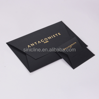 Sinicline custom size matte black envelopes box with gold foil printed logo