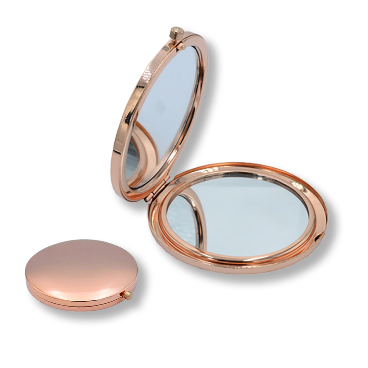 Best beauty care solid gold compact mirror compact folding handheld makeup mirror magnification pocket cosmetic compact mirror