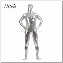 Shiny Metallic Silver Tight Bodysuit Costume Full Body Shiny Spandex Lycra Suit HNF032