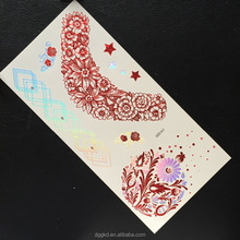 great design gold silver foil laser holographic metallic temporary tattoo flash bling bling supplier