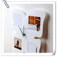 wall mount acrylic photo/ picture frame with clock for 6'' and 7 '' photos/ pictures, wall mounted plexiglass photo frames