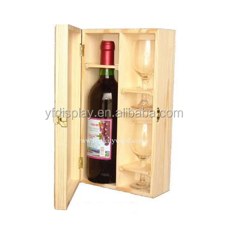 Natural Unfinished Wood Wine Glass Gift Packaging Box