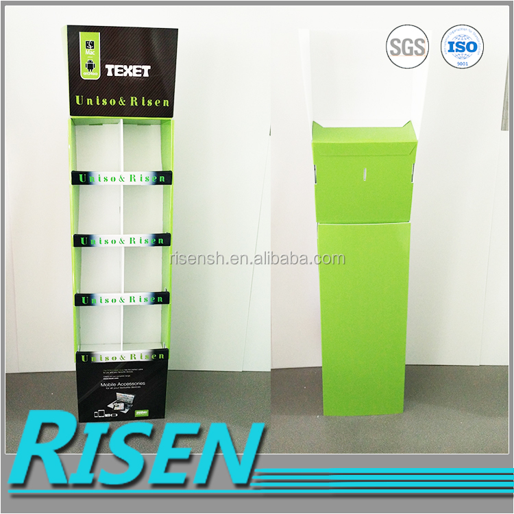 RISEN 2016 hot selling display rack reclyed 8 merchandising cells corrugated plastic portable advertising display for promotiom