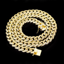 2018 mens hip hop 14k gold iced out cz cuban link chain