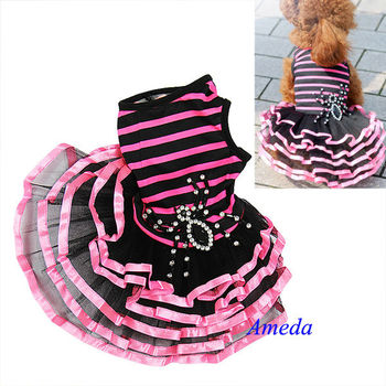 New Black Hot Pink Crystal Spider Small Dog Pets Bling Halloween Party Dress XS-L