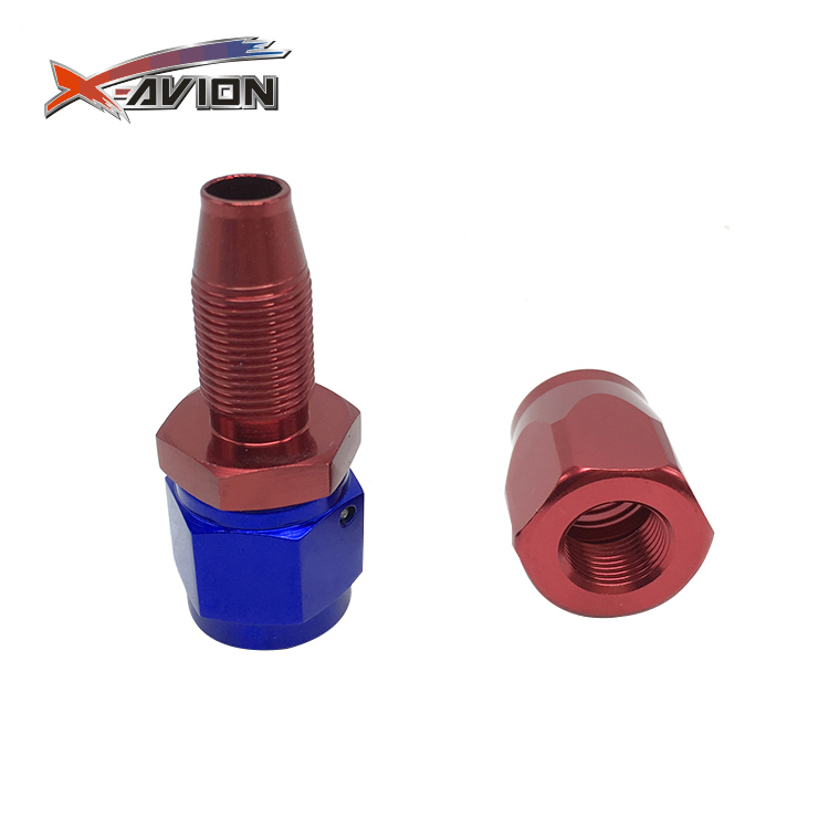 Straight Polished & Anodized Reusable Swivel Flare Union Adapter Fuel Line Hose,Fitting Hose End Ends Red