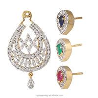 Women's American Diamond CZ Zircon Interchangable 3 Colour Stud Ethnic Earrings