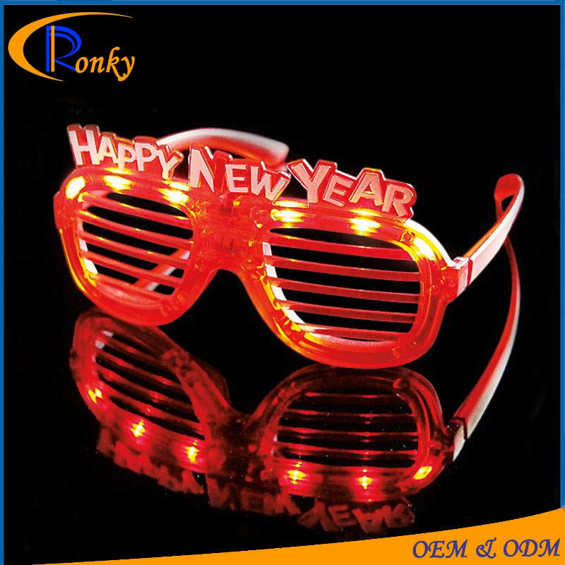 Wholesale event and party supplies shiny 2017 new year glasses with led
