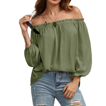 Good Quality Wholesale Ruffle Off Shoulder Lantern Sleeve Lettuce Trim Blouse Material