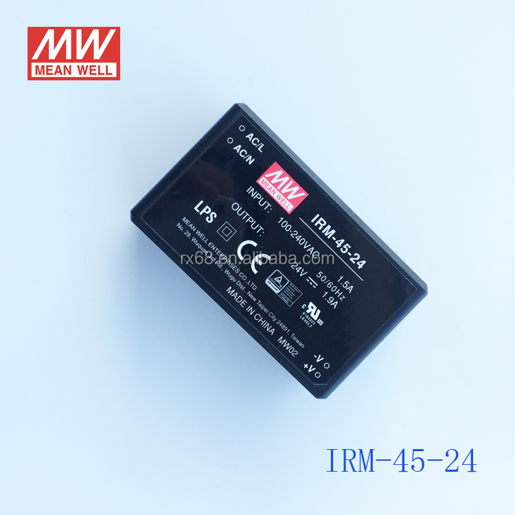 Meanwell 220V AC 24V DC 45w Miniature Encapsulated Type Power Supply IRM-45-24
