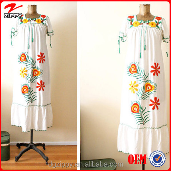 Mexican maxi dress / Mexican embroidered dress / Peasant dress