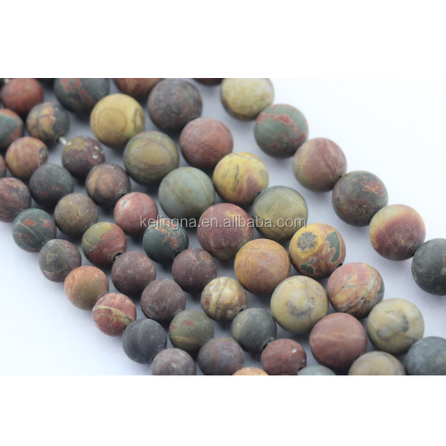 2.0mm Large Hole Hot Wholesale Frosted Round Picasso Jasper Gemstone Loose Beads Latest Design Beads Necklace
