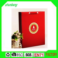 2015 fashion lovely red color merry christmas (Xmas)paper gift bag