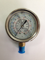 Sanrong R410A Refrigerant Gas Oil Pressure Gauge for Air Conditioner, Low High Oil-Filled Pressure Gauge for Refrigeration
