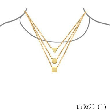 2015 New Arrivals Costume Jewleries Gold Plated Geometric Layered Necklace Pendant For Women