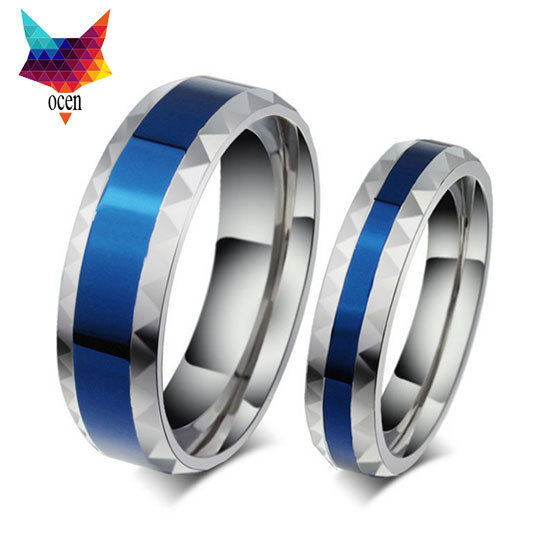 Hot sale 4mm  316L Stainless Steel Finger Rings blue Woman's titanium steel rings for lover Blue Stainless ring