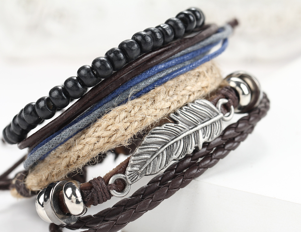 AB30 Wholesale Feather alloy multilayer wooden beads braided beads Bracelet