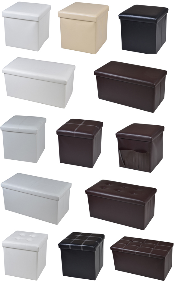 Large Faux Leather Ottoman Folding Storage Pouffe Toy Box Foot Stool Seat Single or Double