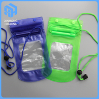 Plastic pvc waterproof bag for mobile phone with string / waterproof beach bag with zipper