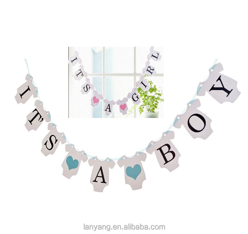 It's a Boy Bunting Banner Baby Shower Garland Decoration Photo Booth Props (Baby Clothes Shape)