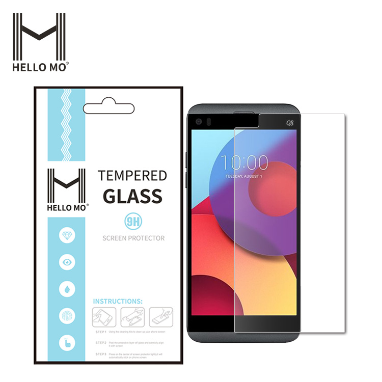 Premium 0.33mm 2.5D 9H Tempered Glass Screen Protector Skin Film Guard For LG Q8 with Safe Packing