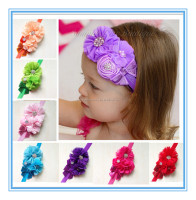 Wholesale newborn Chiffon Flower baby hair headband,Pink Ribbon Rosette Baby headband Photography
