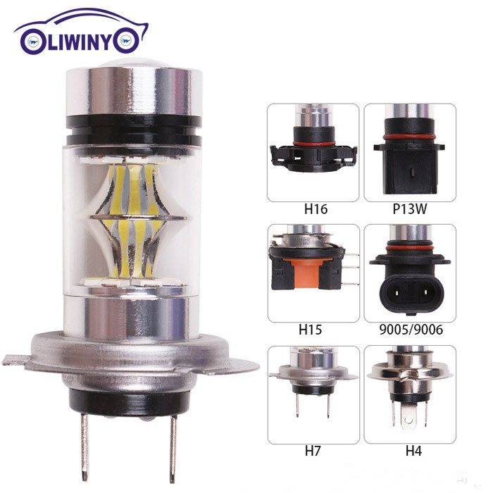 liwiny Automotive LED High Power Fog Light H7 100W 20LED 2835 LED Fog Light Bulb
