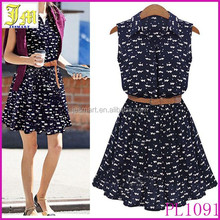 Summer 2015 New Women Sleeveless Dress Casual Turn-down Collar Cat Footprints Pattern Dress With Belt