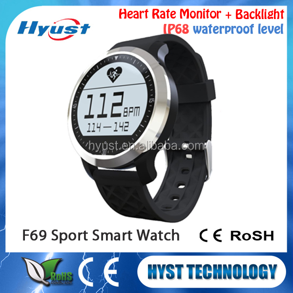 Alibaba Express On Hand Health heart rate wrist round smart watch phone f69 for android & for ios