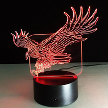 STL 3D Led Night Light Luminaria Animal Lights Eagle Cartoon Touch Acrylic Illusion Kids Lamp Night Light For Children Baby Ligh