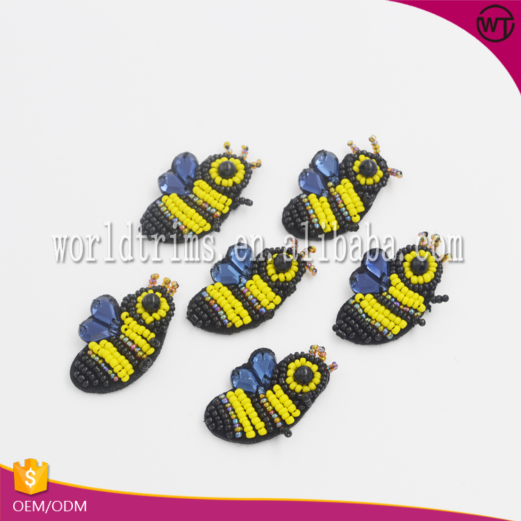 New design bugs bee indian stone beaded applique for decorative