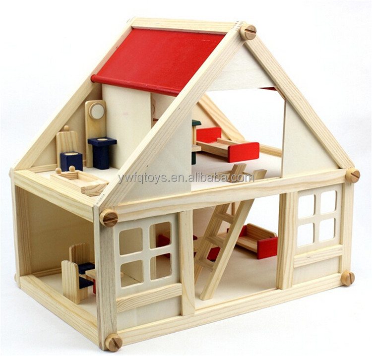 FQ brand Mini building house early educational 3d wooden puzzle