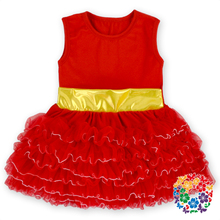 Red Baby Sleeveless Dress New Style Baby Girl Solid Color Winter Christmas Ruffle Dresses Baby Girl Party Tutu Cotton Dress